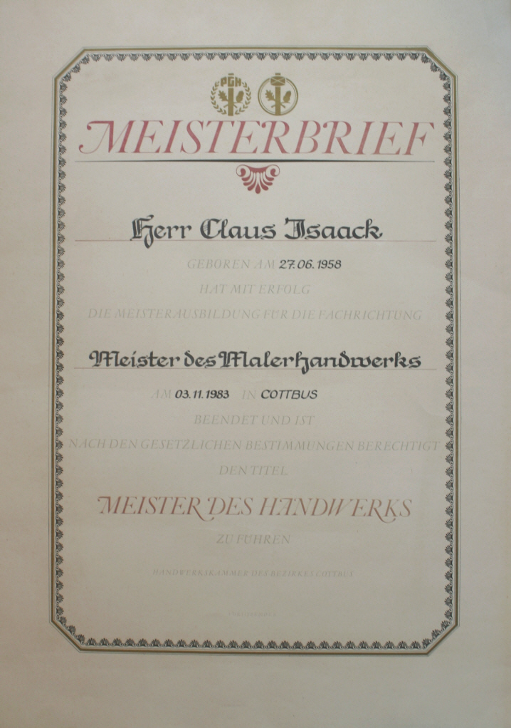 Meisterbrief 1983 Claus